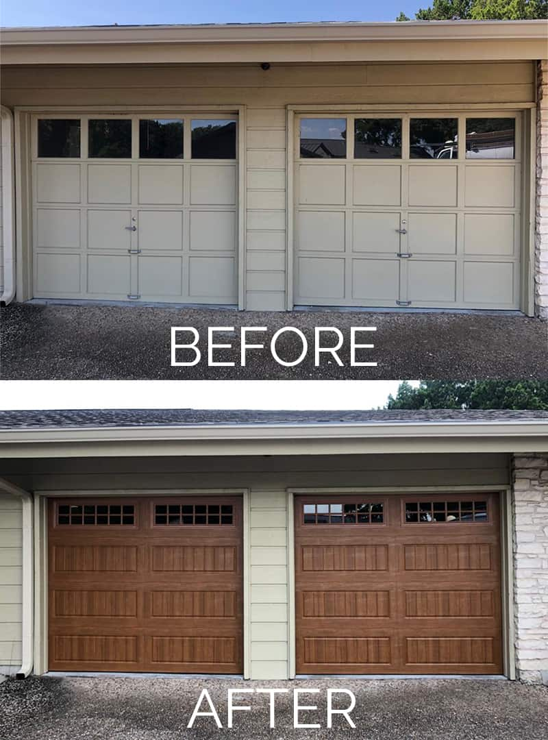 The Up and Up Garage Door Before and After Garage Door Replacement